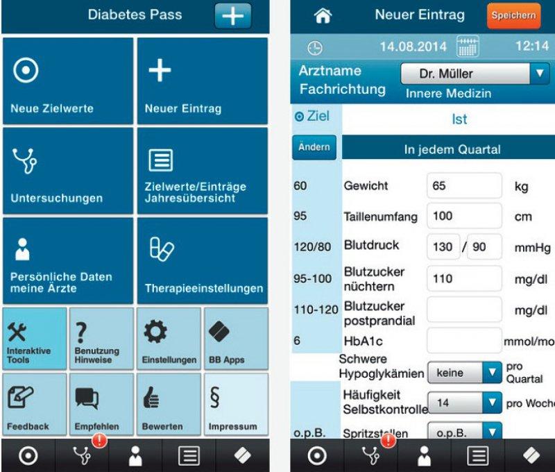 """Die App """"Gesundheits-Pass Diabetes"""" können Interessierte kostenfrei in den jeweiligen App- Stores von Apple und Google herunterladen."""