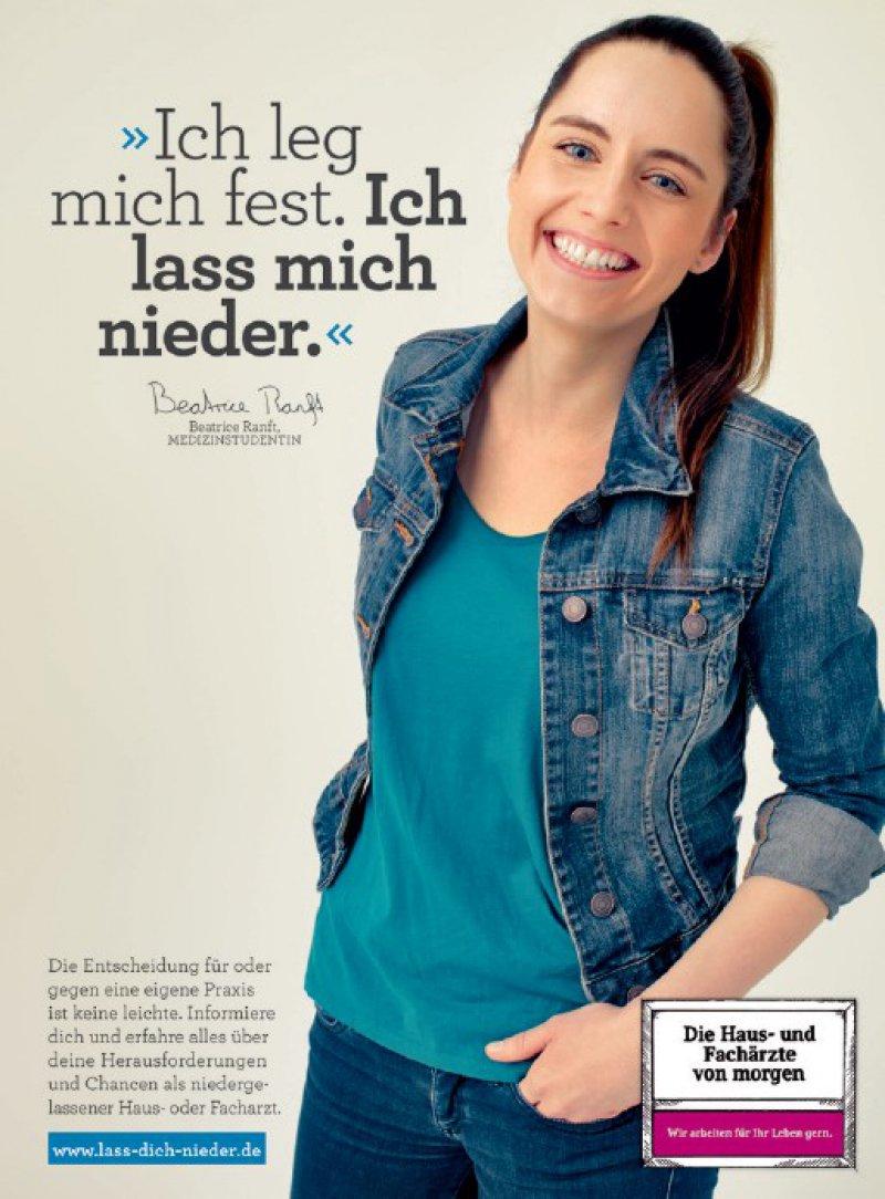 Die Berliner Studentin ist jetzt auf Litfasssäulen und Plakatwänden zu sehen (KBV-Kampagnen-Motiv).