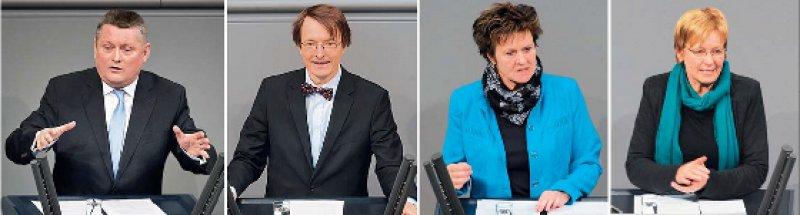 Rede und Gegenrede: Die von Hermann Gröhe skizzierten Schwerpunkte der künftiger Regierungsarbeit kommentierten Karl Lauterbach, Sabine Zimmermann und Maria Klein-Schmeink (von links). Fotos: dpa, Deutscher Bundestag (3)