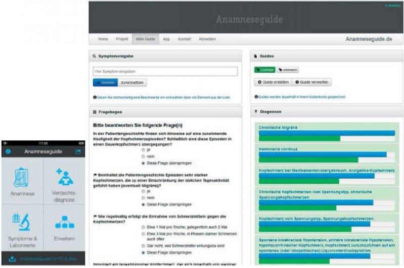Bildschirmansicht der Software zur Diagnoseunterstützung als Webservice (rechts) sowie Darstellung der Software als iPhone-Applikation