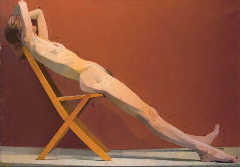 """Euan Uglow: """"The Diagonal"""", 1977, Öl auf Leinwand, 118 × 167 cm: Zwischen dem weiblichen Körper und dem umgebenden Raum konstruierte der renommierte britische Künstler geometrische Beziehungen – wie hier ein Dreieck. Seine Aktmodelle mussten lange in den ungewöhnlichen Körperposen ausharren, denn der akribisch arbeitende Uglow benötigte viel Zeit für jedes Bild."""