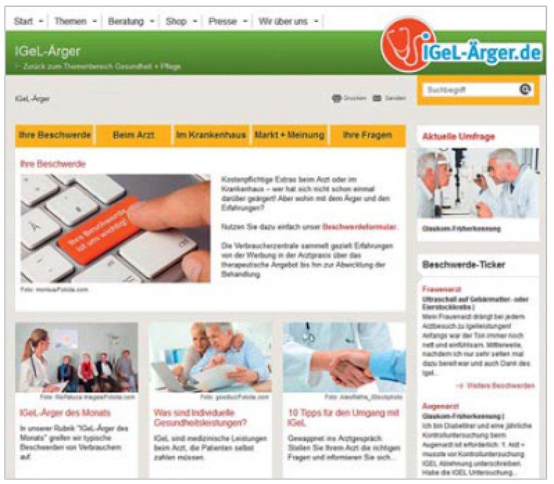 www.igel-aerger.de: Hier können Patienten Erfahrungen schildern.