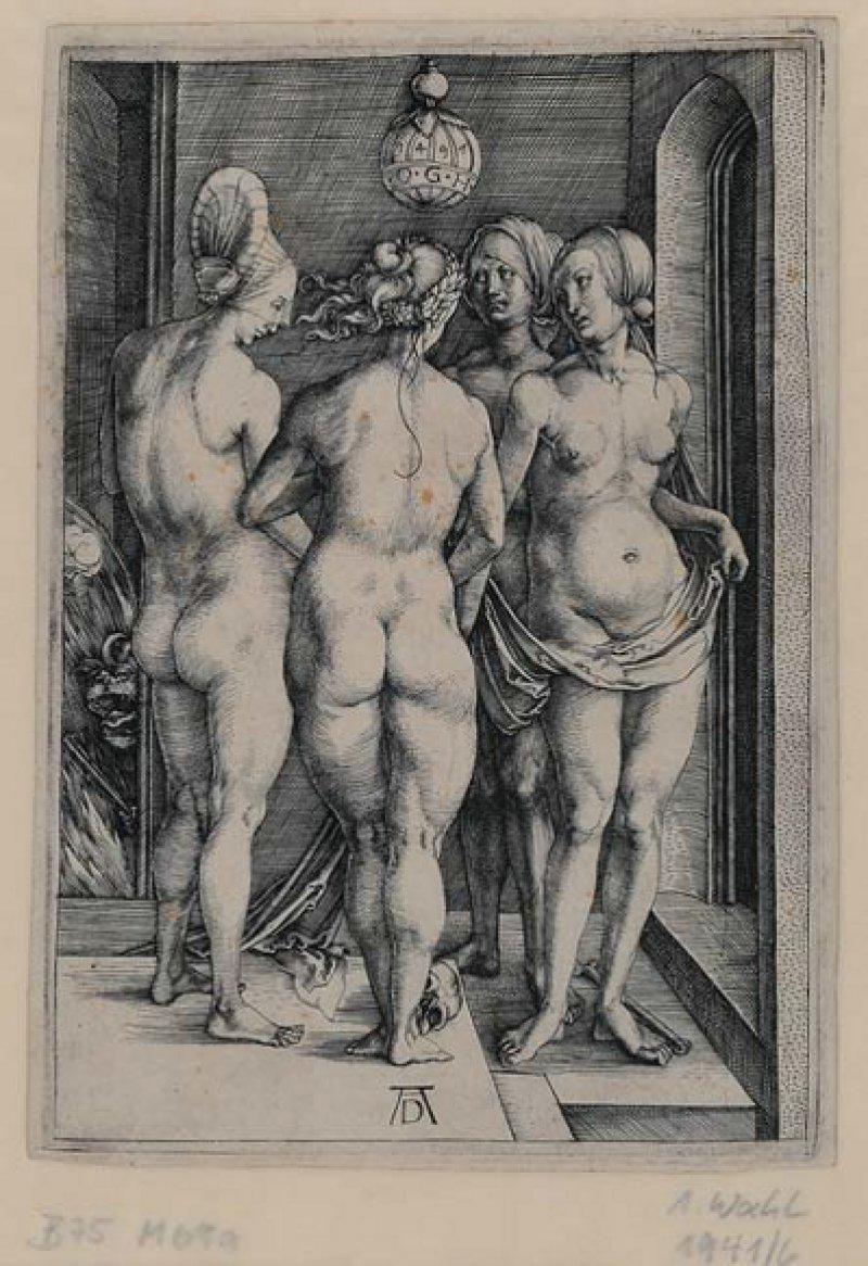 """Abrecht Dürer: """"Vier nackte Frauen (Die vier Hexen)"""", um 1497, Kupferstich, 191 × 134 mm: Wer sind diese vier Frauen und mit was sind sie beschäftigt? Dürers frühes Rätselbild – der Zweittitel """"Die vier Hexen"""" stammt nicht von ihm – liefert keine eindeutige Antwort. Alle vier sind nackt, unterscheiden sich nur durch ihren Kopfputz. Zu ihren Füßen liegen ein Totenschädel und ein länglicher Knochen. Aus der Türöffnung im Hintergrund blickt eine Teufelsfratze. Foto: Graphische Sammlung, Wallraf-Richartz-Museum & Fondation Corboud"""