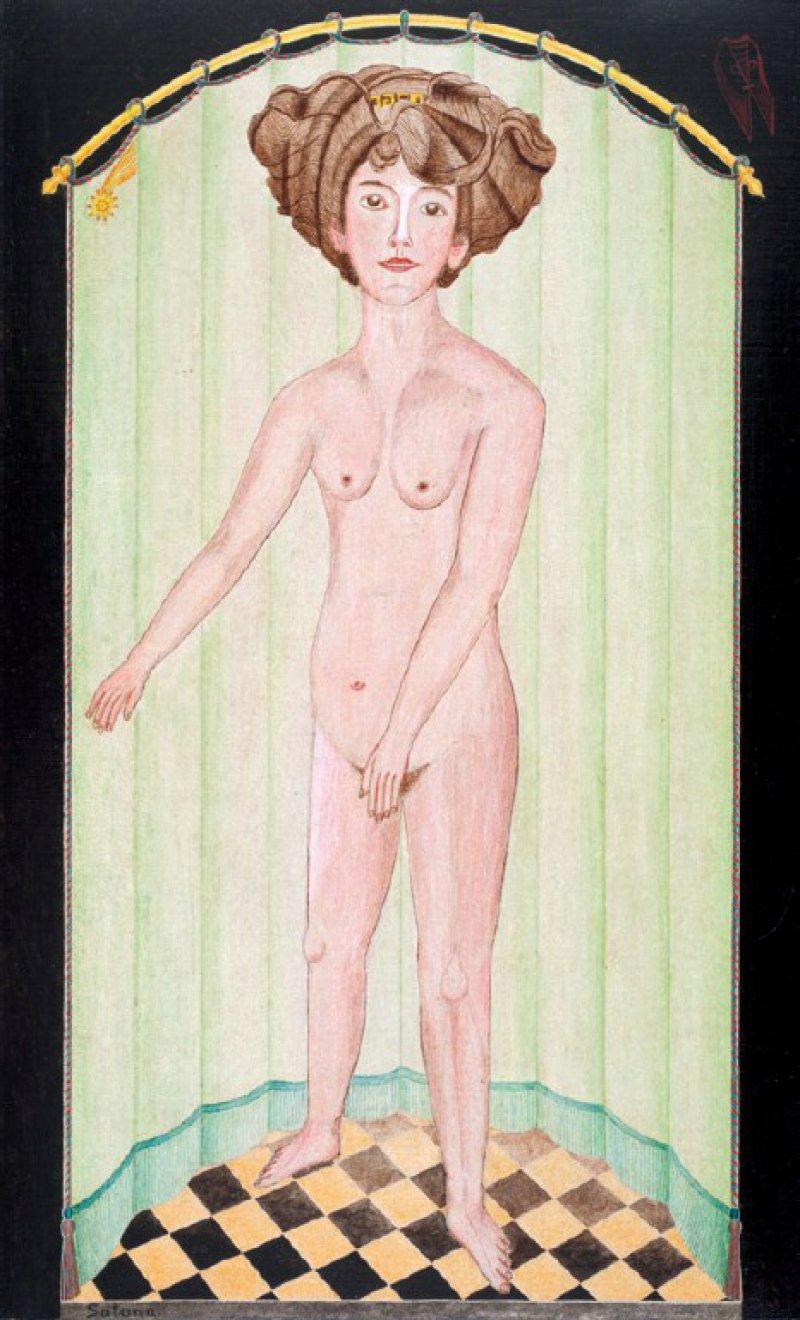 August Natterer: Satana, 1911. Bleistift und Deckfarben, gefirnisst, auf Karton, auf Holzpappe aufgezogen, 41 x 28,6 cm. Sammlung Prionzhorn, Heidelberg