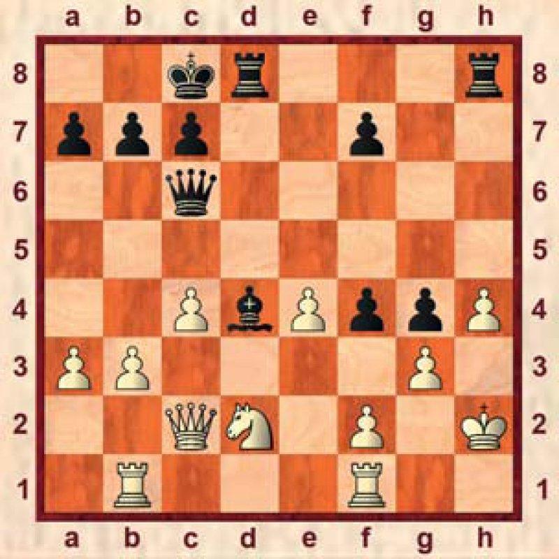 Lösung: Das Turmopfer 1. . . . Txh4+! brach gewaltsam die weiße Königsfestung auf. Nach 2. gxh4 Dh6 3. Kg2 Dxh4 4. Tbe1 Th8 gab Weiß auf, weil das Matt in der h-Linie unvermeidlich ist und 5. Th1 an 5. . . . Dxf2 matt scheitert.