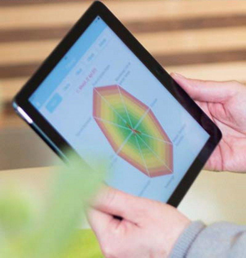 """Auswertungsgrafik aus der """"LymeCare""""-App, die anzeigt, ob sich der Zustand des Patienten verschlechtert oder verbessert hat. Foto: SymCollect"""