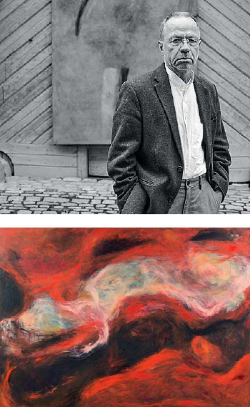 Fritz Herrmanns Bilder fallen durch ihre starken Farben auf. Die Abbildung unten zeigt ein wandfüllenes Bild in leuchtendem Rotorange, durchzogen von schwarzen, wie getuschten Linien, die wie Schnitte wirken. Fotos: Thomas Joern, privat