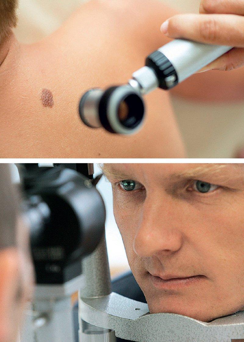 Extrazahlungen beim Hautkrebsscreening für das Auflichtmikroskop oder für die Glaukomfrüherkennung zählen zu den häufigen IGeL-Beschwerdegründen. Fotos: mauritius images; dpa