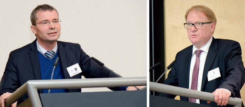 Innovationsfonds: Bernhard Gibis, KBV (links), und Holger Pfaff, Vorsitzender des Expertenbeirats des Fonds, wiesen auf offene Fragen und Probleme hin. Foto: KBV/Kahl