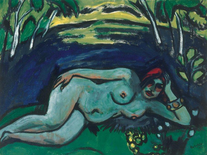"""Max Pechstein: """"Früher Morgen"""", 1911, Öl auf Leinwand, 75 × 100 cm: In einer Mischung aus weltlicher Sinnlichkeit und naturverbundener Weiblichkeit liegt eine exotische Frauenfigur nackt auf einer idyllischen Waldlichtung. Die Szene erinnert an die Südseeschönheiten Paul Gauguins, den Pechstein bewunderte. Den deutschen Künstler zog es zwar auch in die Ferne, aber sein """"Früher Morgen"""" entstand bei einer seiner Sommerreisen nach Nidden an der Kurischen Nehrung und zeigt seine erste Frau Charlotte. © 2015 Pechstein Hamburg/Tökendorf. Foto: Thomas Weiss, Ravensburg"""