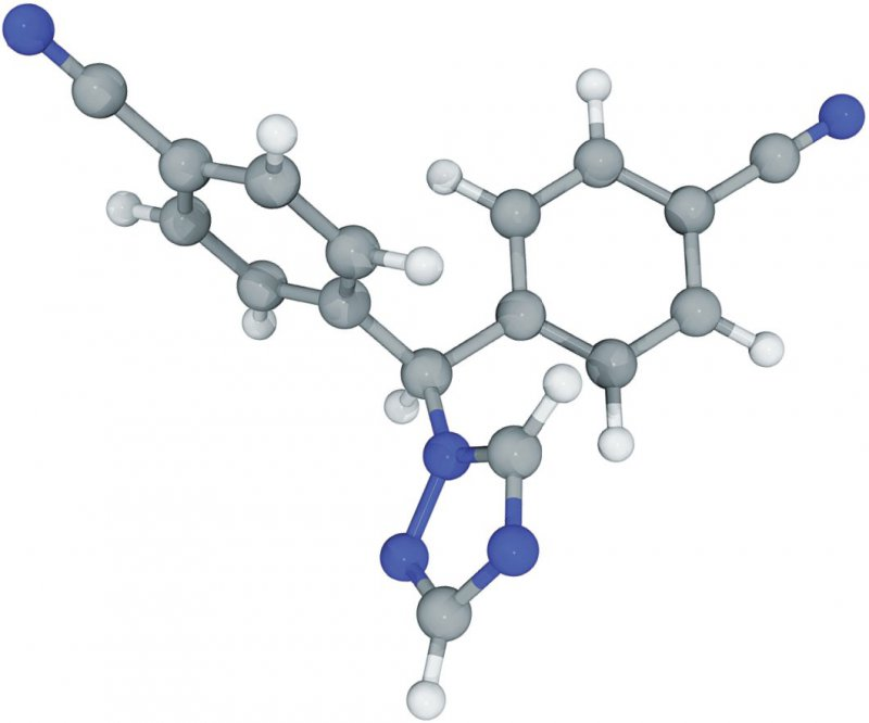 Molekülstruktur des nichtsteroidalen Aromatasehemmers Letrozol. Foto: LAGUNA DESIGN SPL Agentur Focus