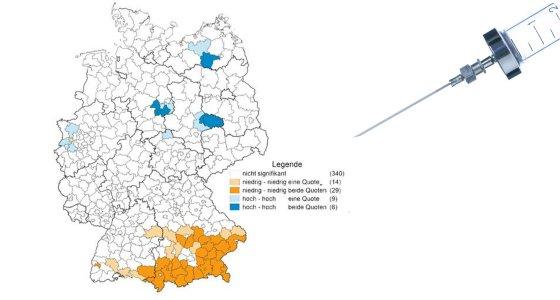 In Süddeutschland ist eine zusammenhängende Region geprägt von Impfskepsis. / Versorgungsatlas.de / Pavel Chernobrivets, stock.adobe.com