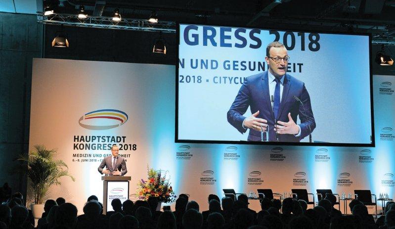 Zum ersten Mal als Minister sprach Jens Spahn beim Hauptstadtkongress zu aktuellen Reformen. Foto: WISO/Joachim Schmidt-Domine