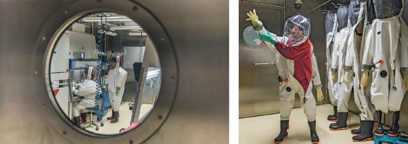 Versuche mit hochansteckenden Krankheitserregern sind nur in S4-Laboren möglich, die der höchsten Sicherheitsstufe nach dem Gentechnikgesetz genügen. Höchstens fünf Stunden am Stück können die Forscher in der zehn Kilogramm schweren Schutzkleidung arbeiten. Fotos: dpa, RKI
