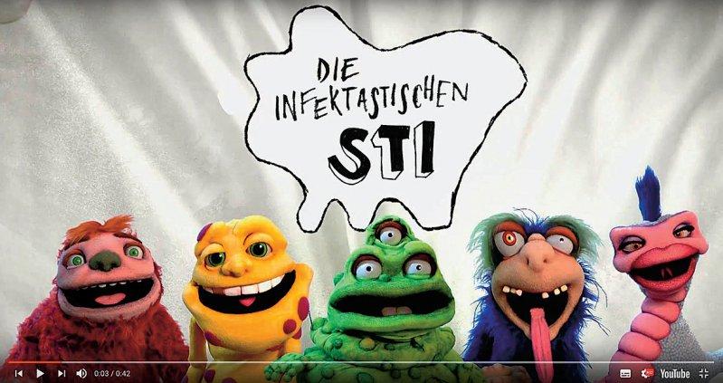 Stellvertreter für sexuell übertragbare Krankheiten: Fünf Handpuppen klären auf humorvolle Art über STI und deren Infektionswege auf.
