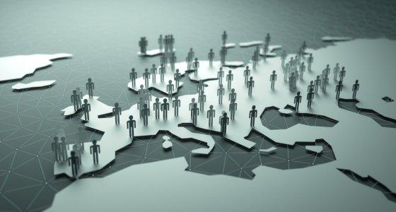 3D Ansicht Europa Demografie /ktsdesign adobe.stock.com