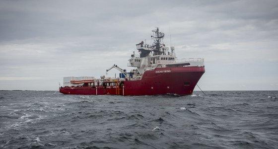 Das norwegische Schiff «Ocean Viking», dass im Auftrag der französischen Hilfsorganisation «SOS Mediterranee» Flüchtlinge vor der libyschen Küste suchen soll./picture alliance/Anthony Jean/SOS Mediterranee/dpa