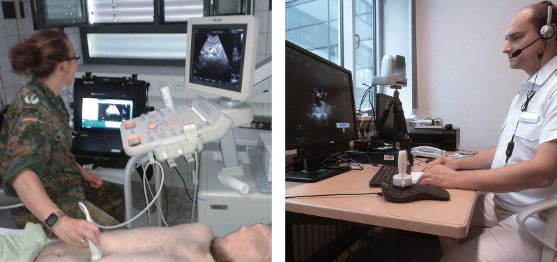 Diagnostik über Distanzen: Links die Untersucherin im Inland, rechts der Experte am Bundeswehrkrankenhaus in Hamburg. Fotos: OFA Dr. L. Scheit