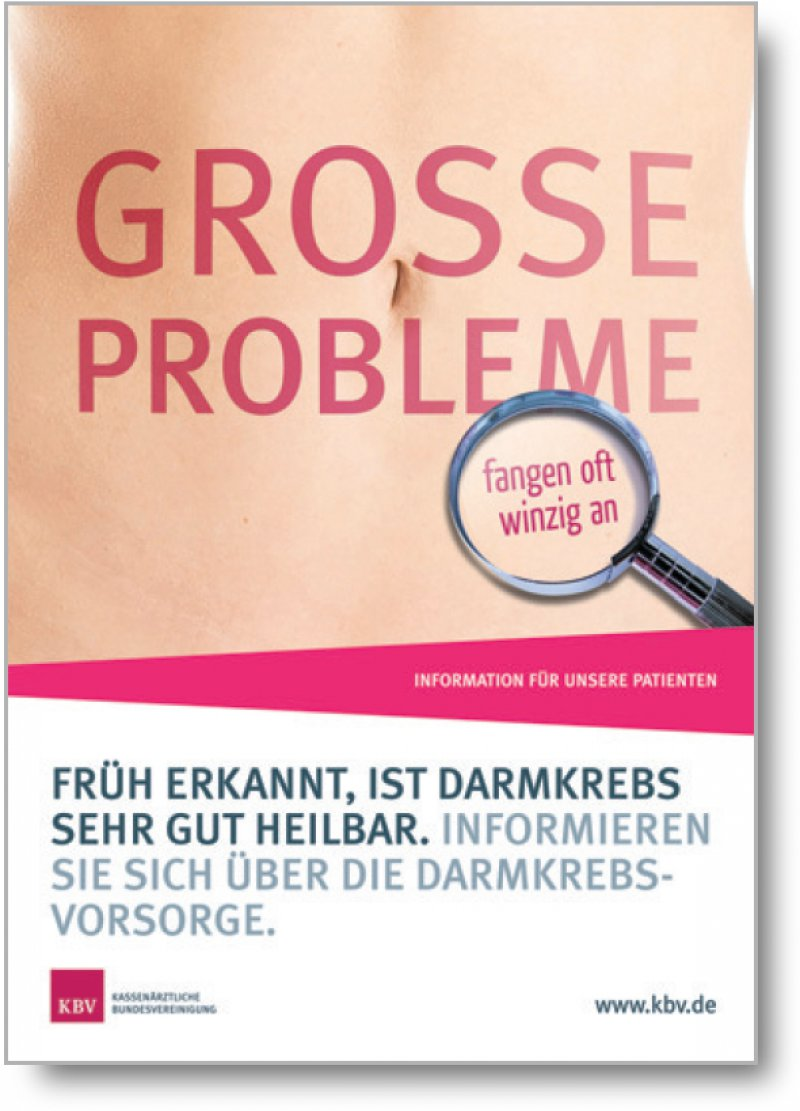 Das Plakat macht auf die Früherkennung aufmerksam und fordert auf, sich zu informieren.