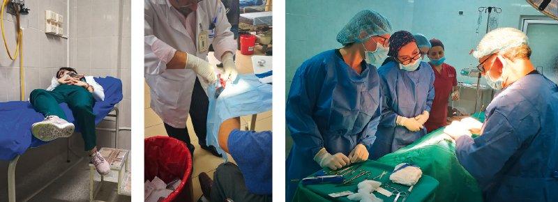 Unzählige Eindrücke für TimVogel:Während einheimische PJler jede freie Minute zum Schlafen nutzen (links), begutachtet er einen Patienten mit gespaltenem Finger (Mitte) und assistiert im OP (ganz links im rechten Bild)