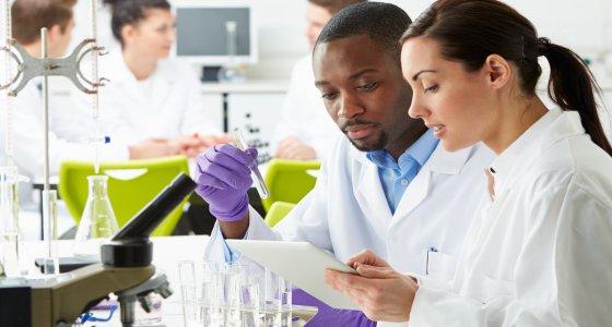Gruppe von Wissenschfatlern im Labor. /micromonkey, stock.adobe.com