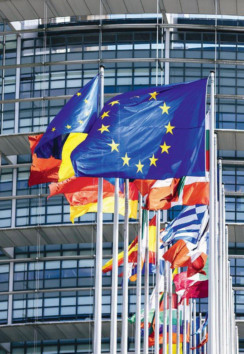 Die Europafahne weht vor dem EUParlament. In Italien haben manche Bürgermeister die blaue Fahne mit den Sternen aus Protest gegen mangelnde Solidarität eingeholt. Foto: ifeelstock/stock.adobe.com