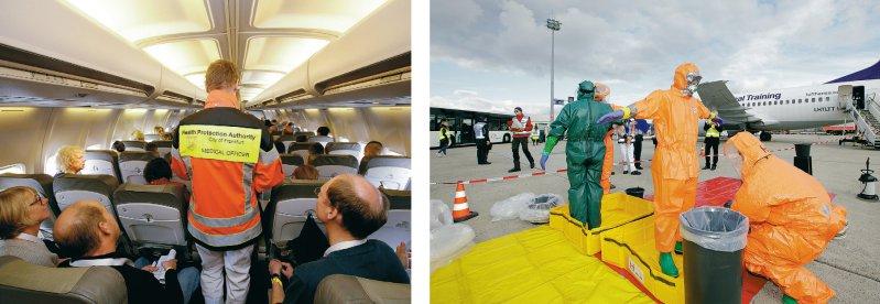Evakuierung der Patienten: Der Amtsarzt informiert die Fluggäste über das Vorgehen an Bord (l.). Die Sichtungsärzte, die sich in Schutzkleidung um die Patienten gekümmert haben, müssen anschließend dekontaminiert werden. Fotos: Fraport AG