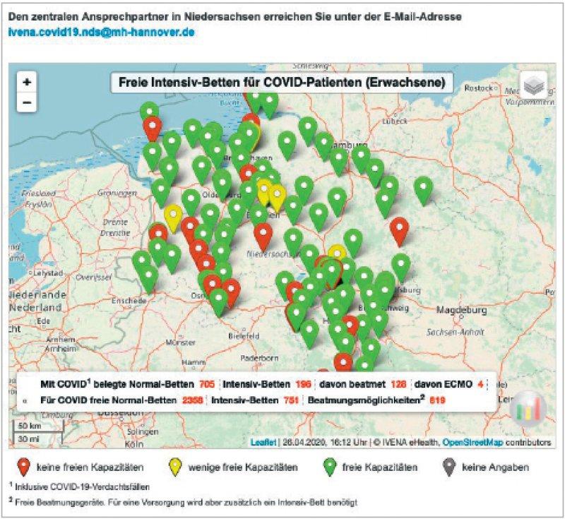 Das IVENA-Zusatztool zeigt die Verteilung der COVID- 19-Kapazitäten in Niedersachsen und Bremen.
