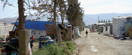 Flüchtlingsbehausung bei Anjar im Libanon