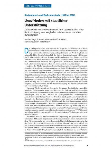 Kinderwunsch- und Wachstumsstudie (1998 bis 2000)