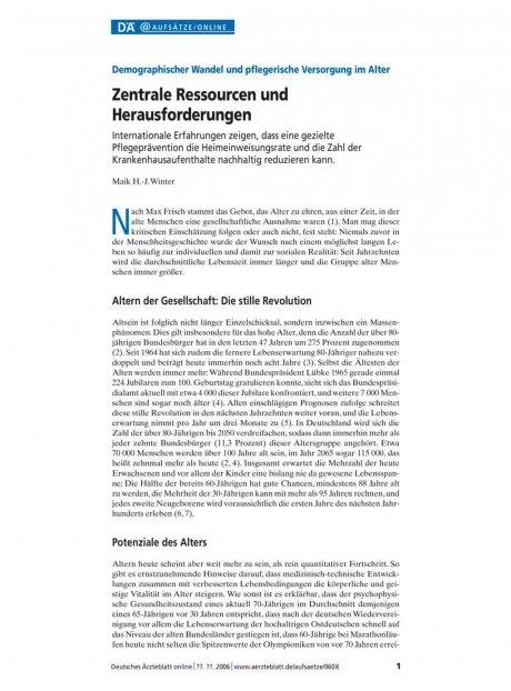 Demographischer Wandel und pflegerische Versorgung...