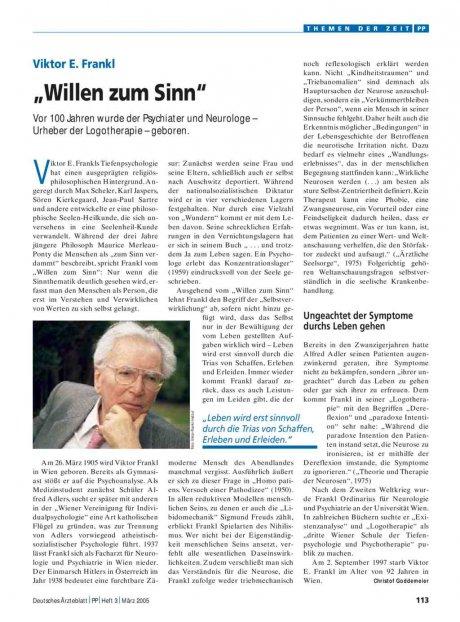 "Viktor E. Frankl: ""Willen zum Sinn"""