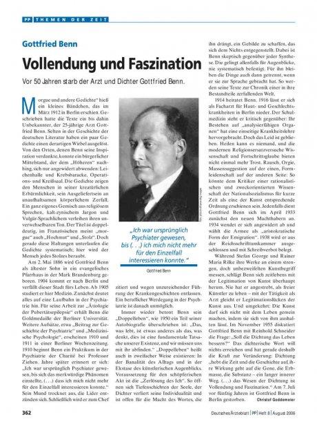 Gottfried Benn: Vollendung und Faszination