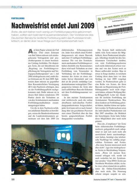 Fortbildung: Nachweisfrist endet Juni 2009