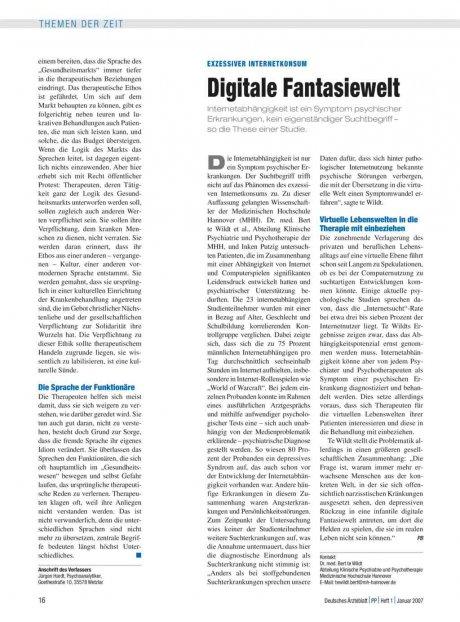 Exzessiver Internetkonsum: Digitale Fantasiewelt
