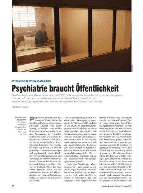 Psychiatrie im Ost-West-Vergleich