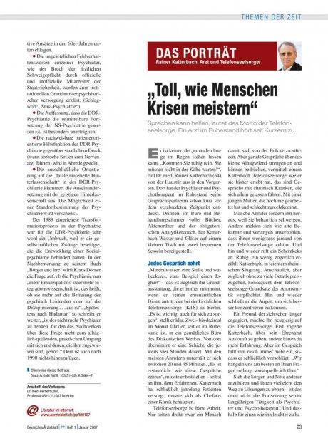 Rainer Katterbach, Arzt und Telefonseelsorger