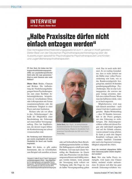 Interview mit Dipl.-Psych. Dieter Best