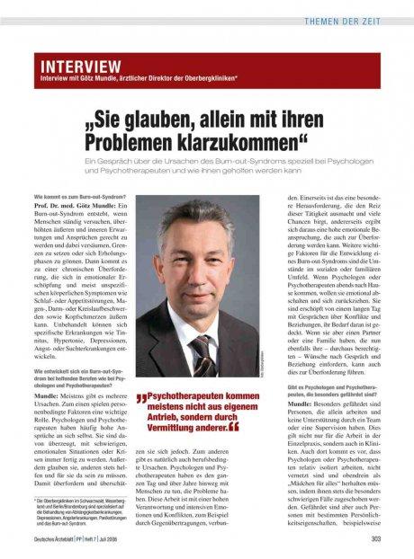 Interview mit Götz Mundle, ärztlicher Direktor der...