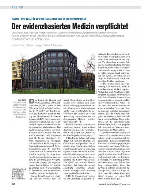 Institut für Qualität und Wirtschaftlichkeit im...