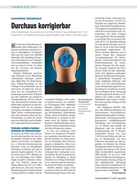 Schizophrene Erkrankungen: Durchaus korrigierbar