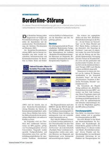 Internetrecherche: Borderline-Störung