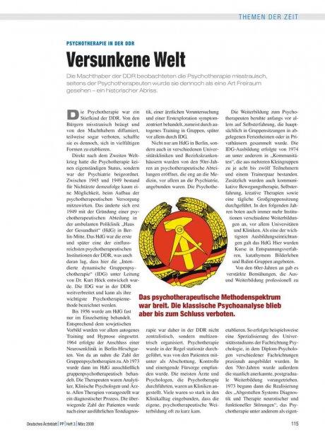 Psychotherapie in der DDR: Versunkene Welt