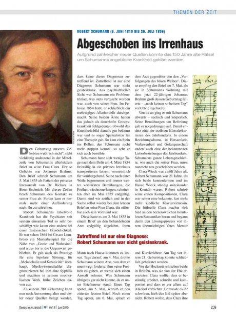 Robert Schumann (8. Juni 1810 bis 29. Juli 1856)