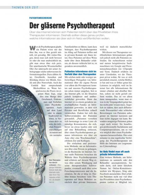 Patientenrecherche: Der gläserne Psychotherapeut
