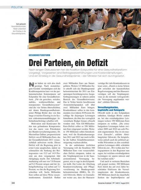 Gesundheitsreform: Drei Parteien, ein Defizit