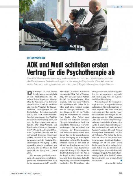 Selektivverträge: AOK und Medi schließen ersten Vertrag für die Psychotherapie ab