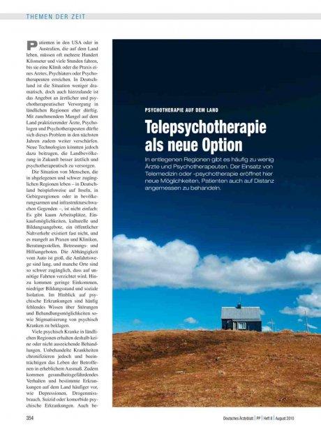 Psychotherapie auf dem Land: Telepsychotherapie als neue Option