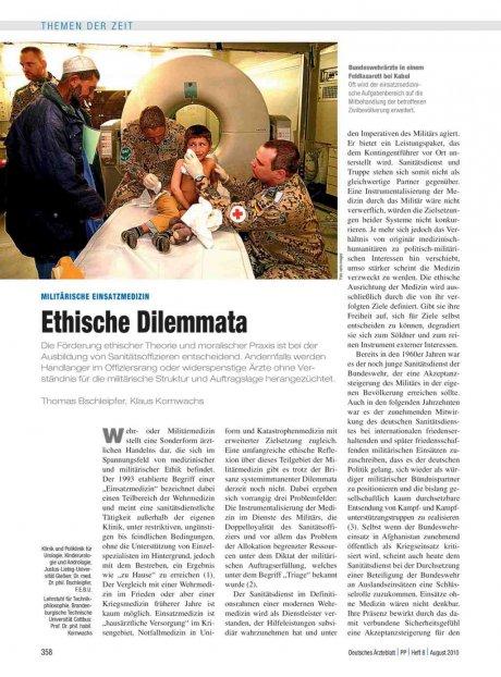 Militärische Einsatzmedizin: Ethische Dilemmata