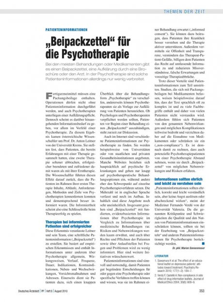 """Patienteninformationen: """"Beipackzettel"""" für die Psychotherapie"""